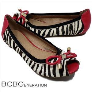 BCBGeneration Addianna Zebra Print Peep Toe Flats